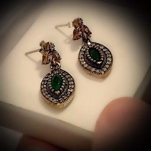 EMERALD FINE ART EARRINGS Solid 925 Silver/Gold